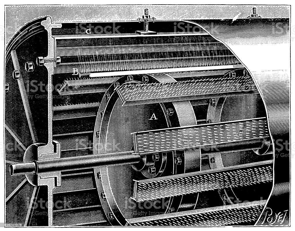 Antique illustration of chemistry machinery vector art illustration