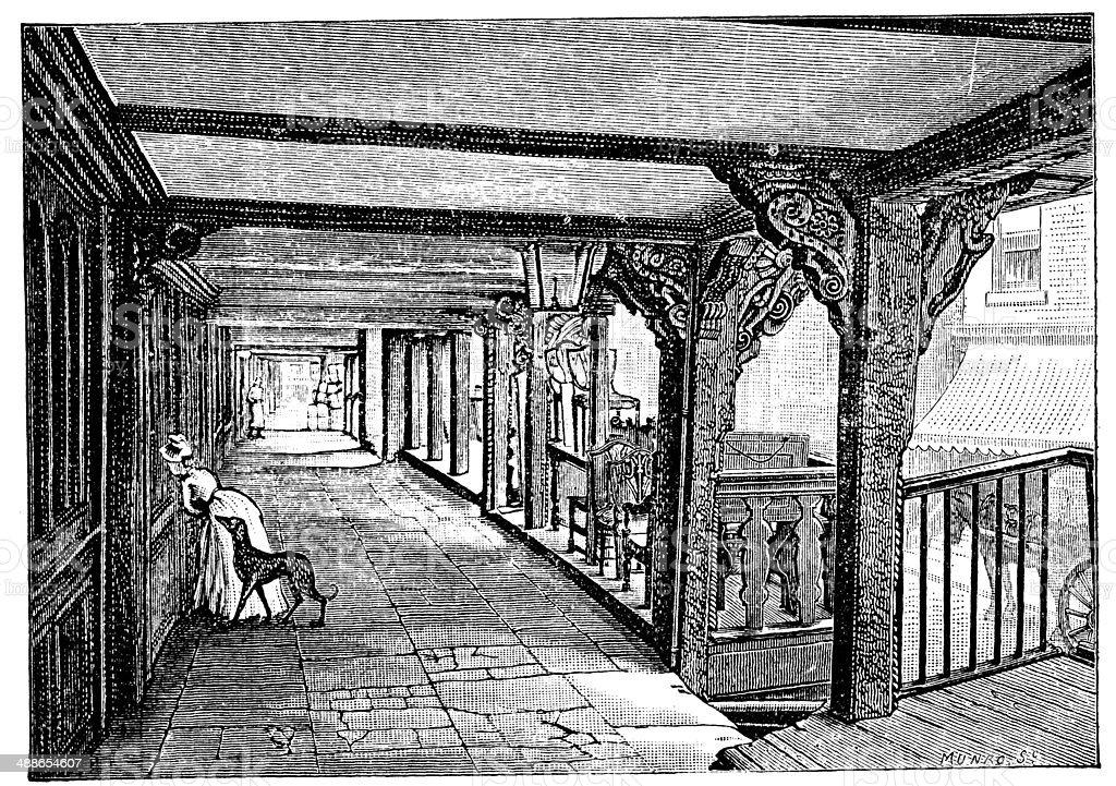 Antique illustration of Chester vector art illustration