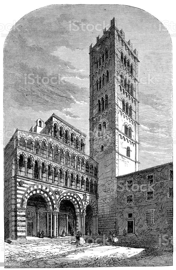 Antique illustration of Chiesa di San Martino, Lucca, Italy royalty-free stock vector art