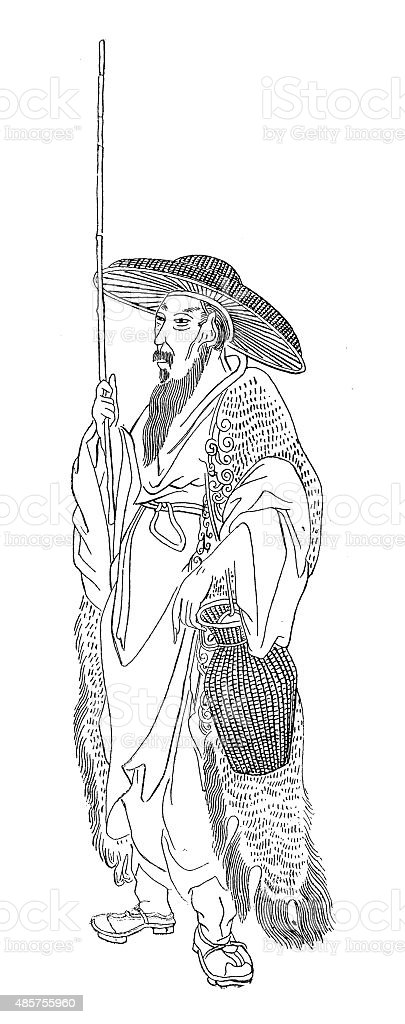 Antique illustration of chinese fisherman vector art illustration