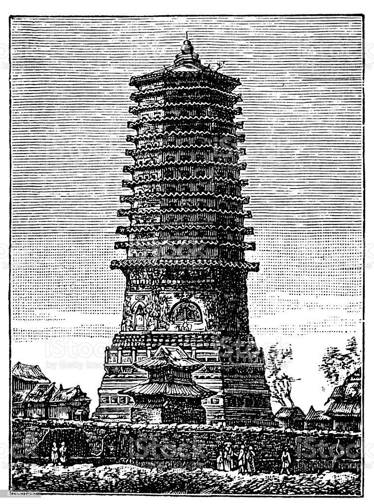 Antique illustration of Chinese Pagoda of Thirteen Stories vector art illustration