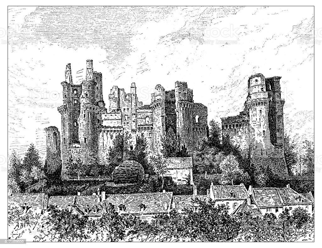 Antique illustration of Château de Pierrefonds (France) before restoration vector art illustration