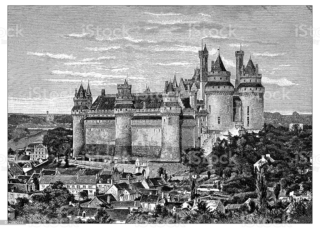 Antique illustration of Château de Pierrefonds (France) vector art illustration
