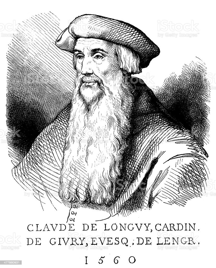 Antique illustration of Claude de Longvy royalty-free stock vector art