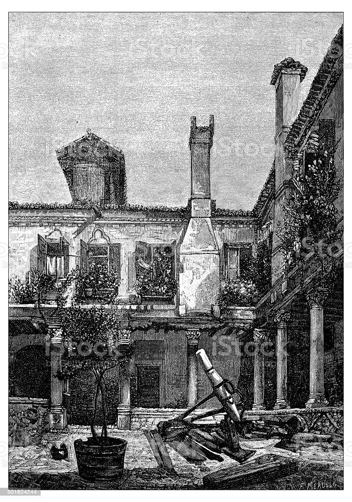Antique illustration of cloister of Saint Gregory abbey in Venice vector art illustration
