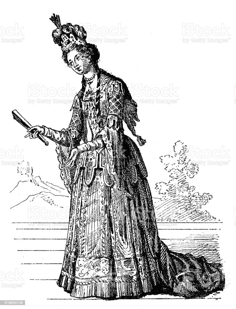 Antique illustration of Colombina performing on stage vector art illustration