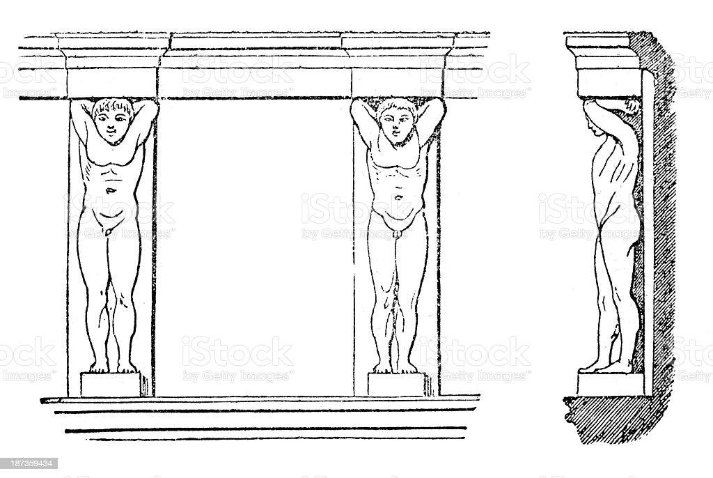 Antique illustration of column sculpture Atlas statues vector art illustration
