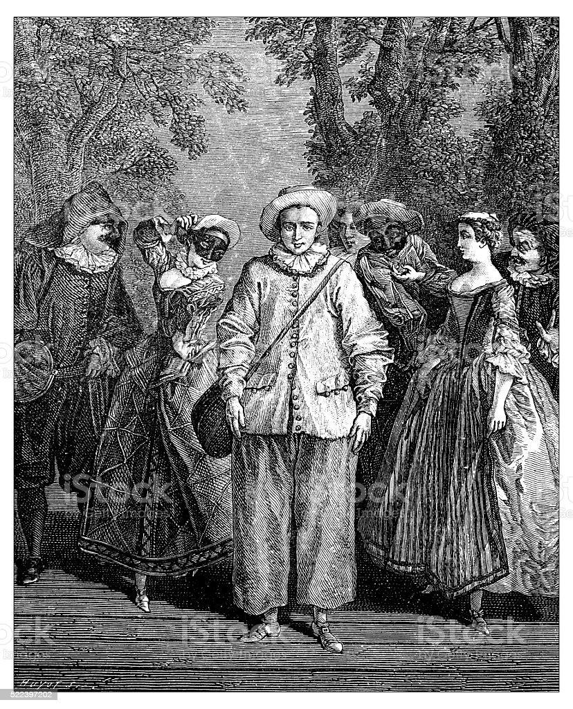 Antique illustration of commedia dell'arte characters on stage vector art illustration