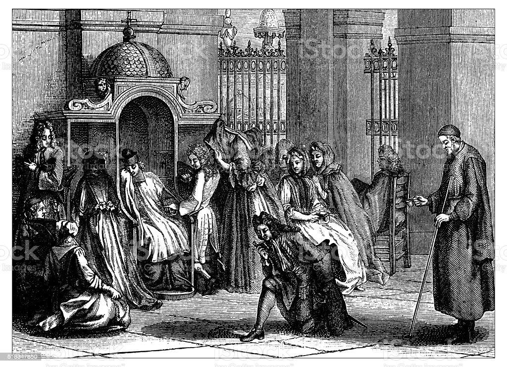 Antique illustration of confession vector art illustration