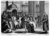 Antique illustration of confession