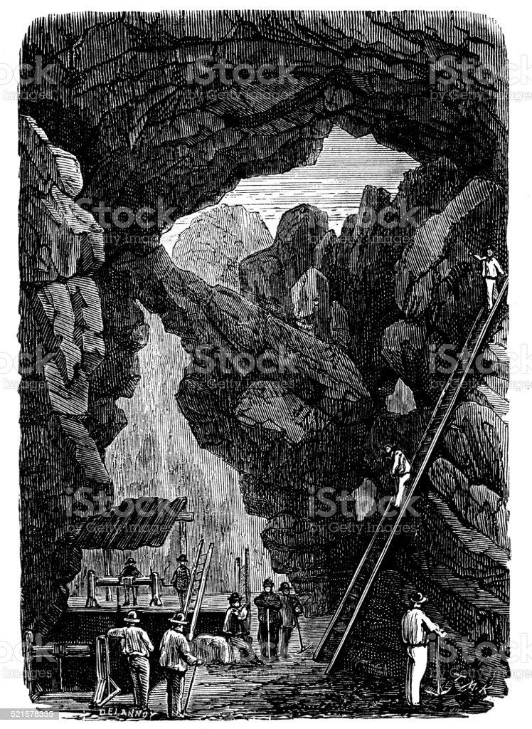 Antique illustration of copper mine in Sweden vector art illustration