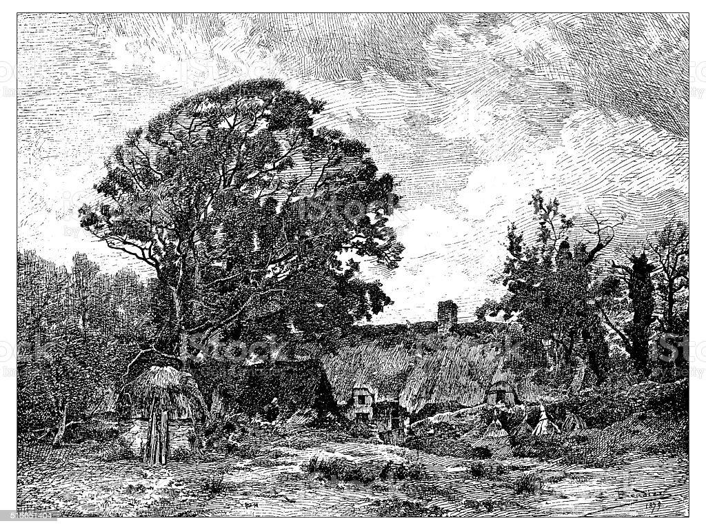 Antique illustration of countryside landscape (Cernay-la-Ville, France) vector art illustration