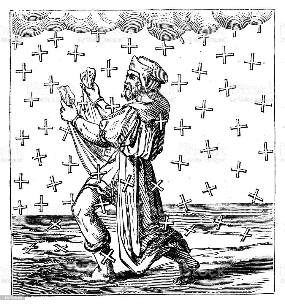 Antique illustration of cross rain royalty-free stock vector art