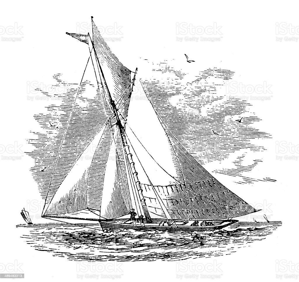 Antique illustration of cutter vector art illustration