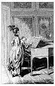 Antique illustration of dance music piano lesson