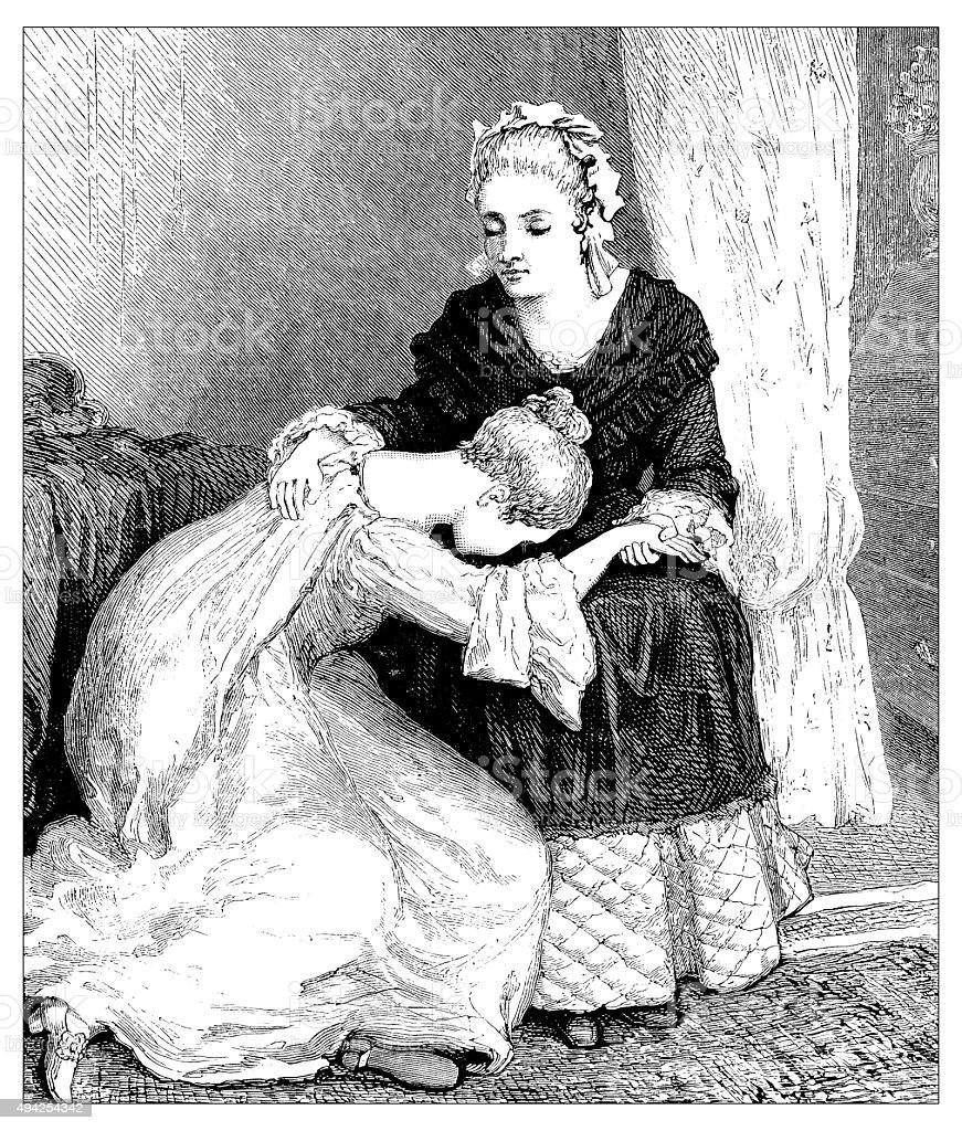 Antique illustration of daughter crying vector art illustration