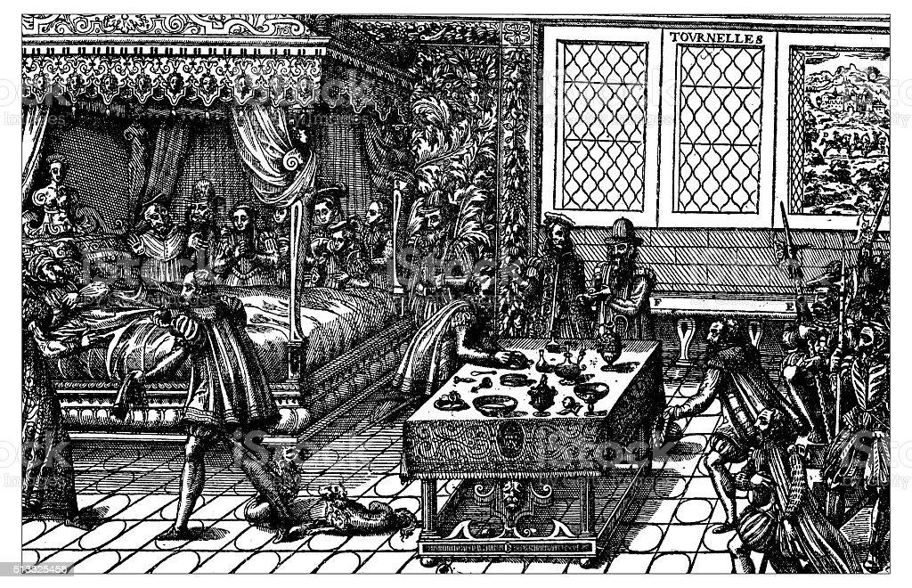 Antique illustration of Death of Henry II of France (1559) vector art illustration