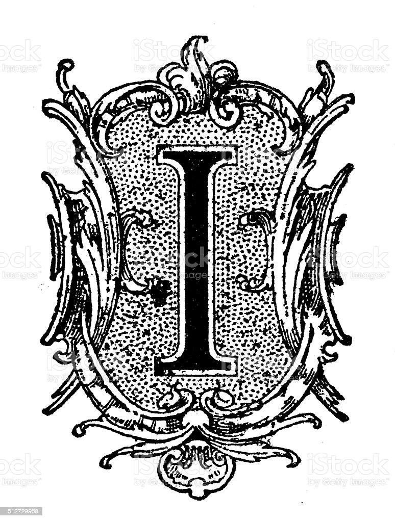 Antique illustration of decorated capital letter I vector art illustration