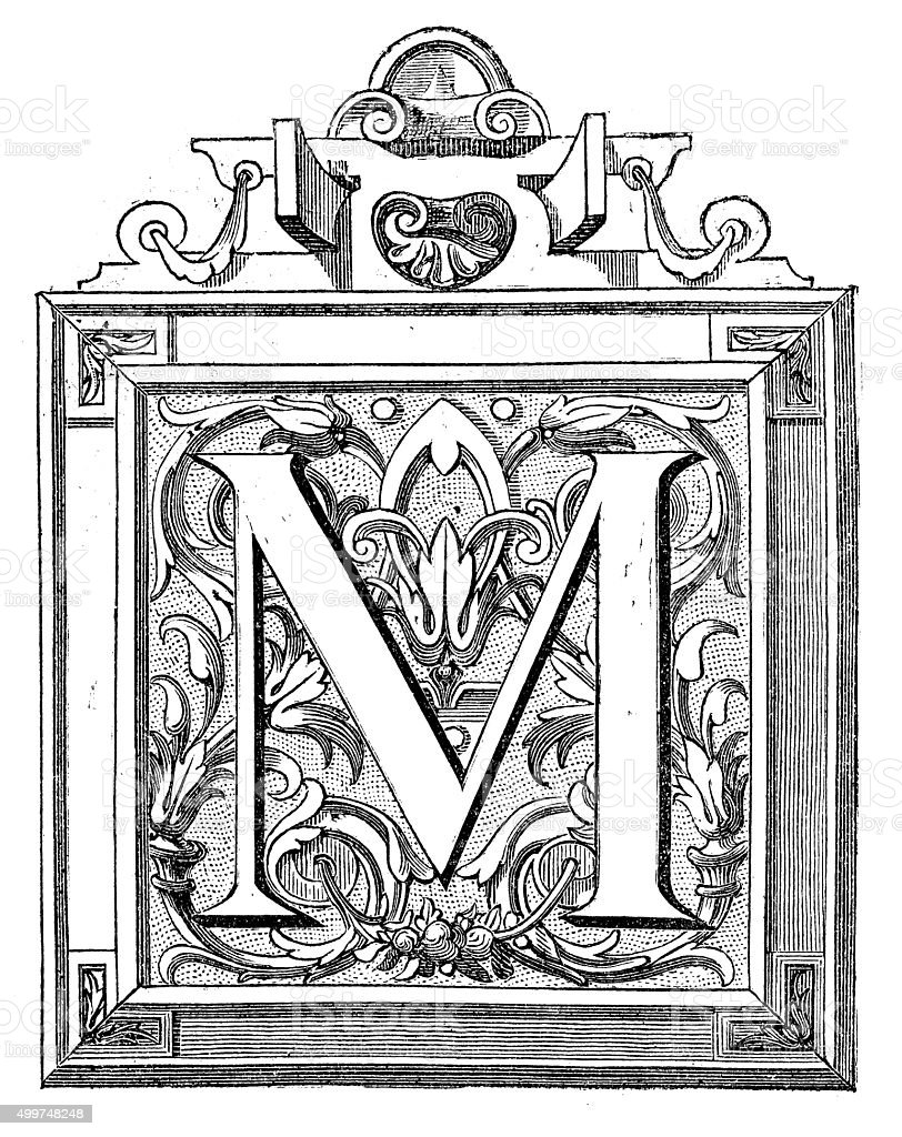 Antique illustration of decorated letter M vector art illustration