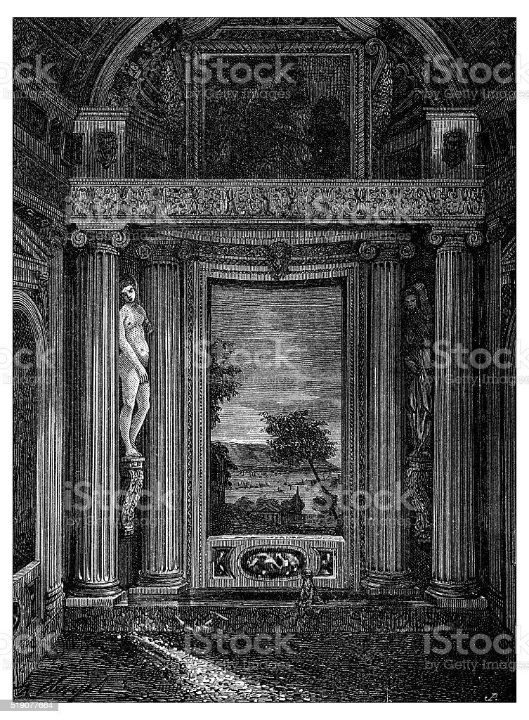 Antique illustration of decoration-interior of Villa Barbaro (Maser, Italy) vector art illustration