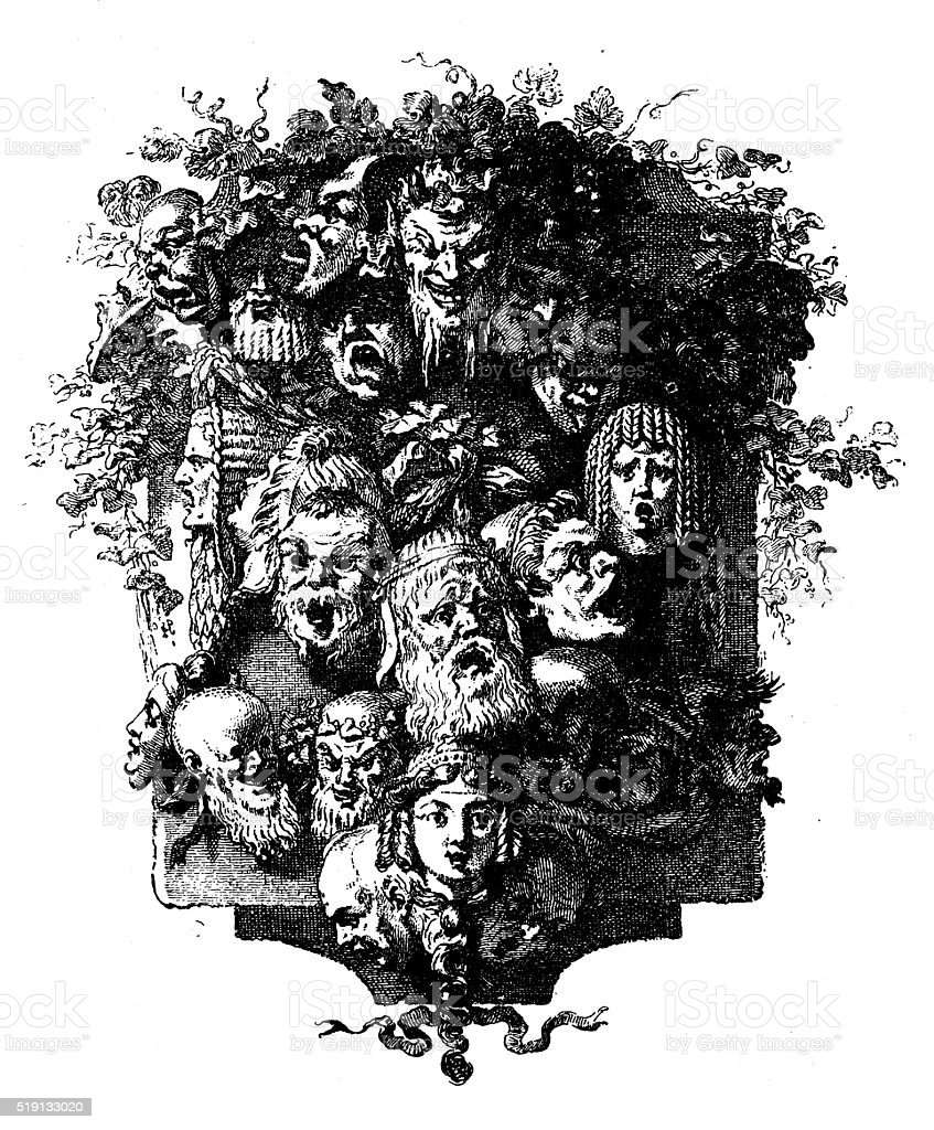 Antique illustration of decorative image (cul-de-lampe) with faces vector art illustration