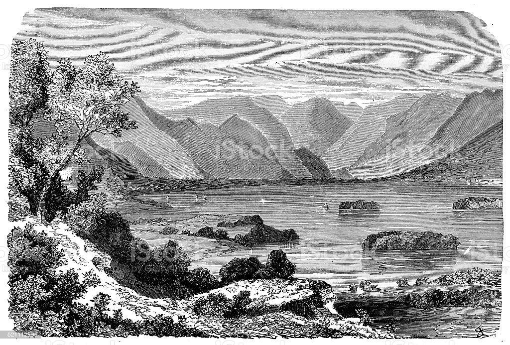 Antique illustration of Derwentwater (Lake District) vector art illustration