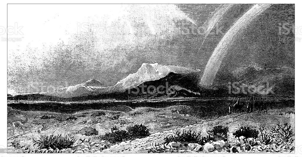 Antique illustration of desert of Shur vector art illustration