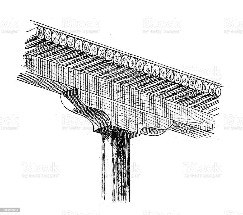 Antique illustration of detail of portico with column and capital vector art illustration