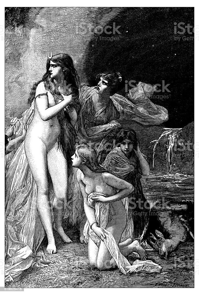 Antique illustration of Diana Surprised while Bathing With Her Nymphs vector art illustration