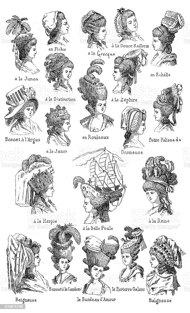 Antique illustration of different 18th century hairstyles with French names vector art illustration