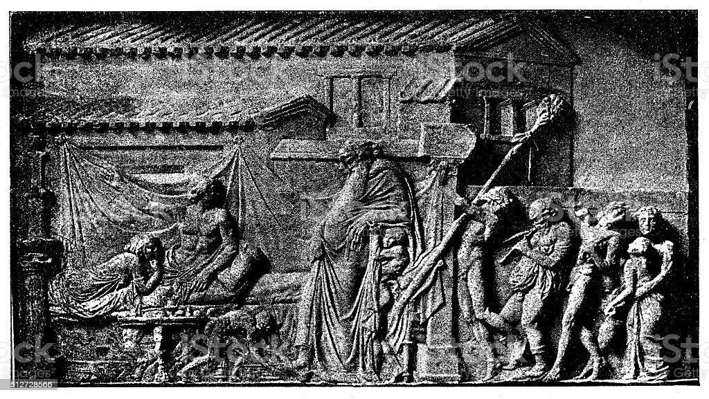 Antique illustration of Dionyisus at Icarius' place vector art illustration