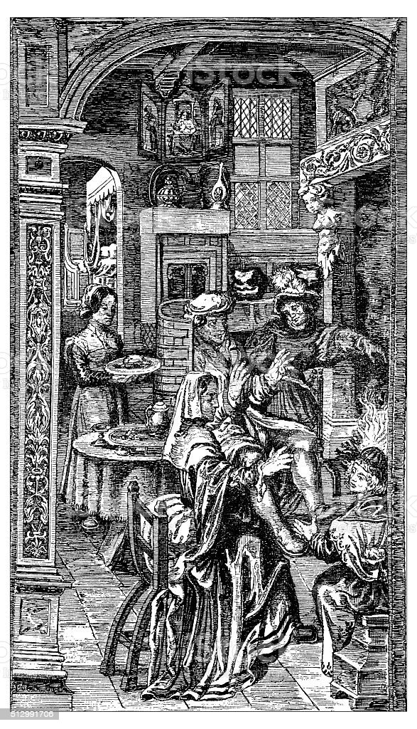 Antique illustration of domestic scene during 15th century vector art illustration