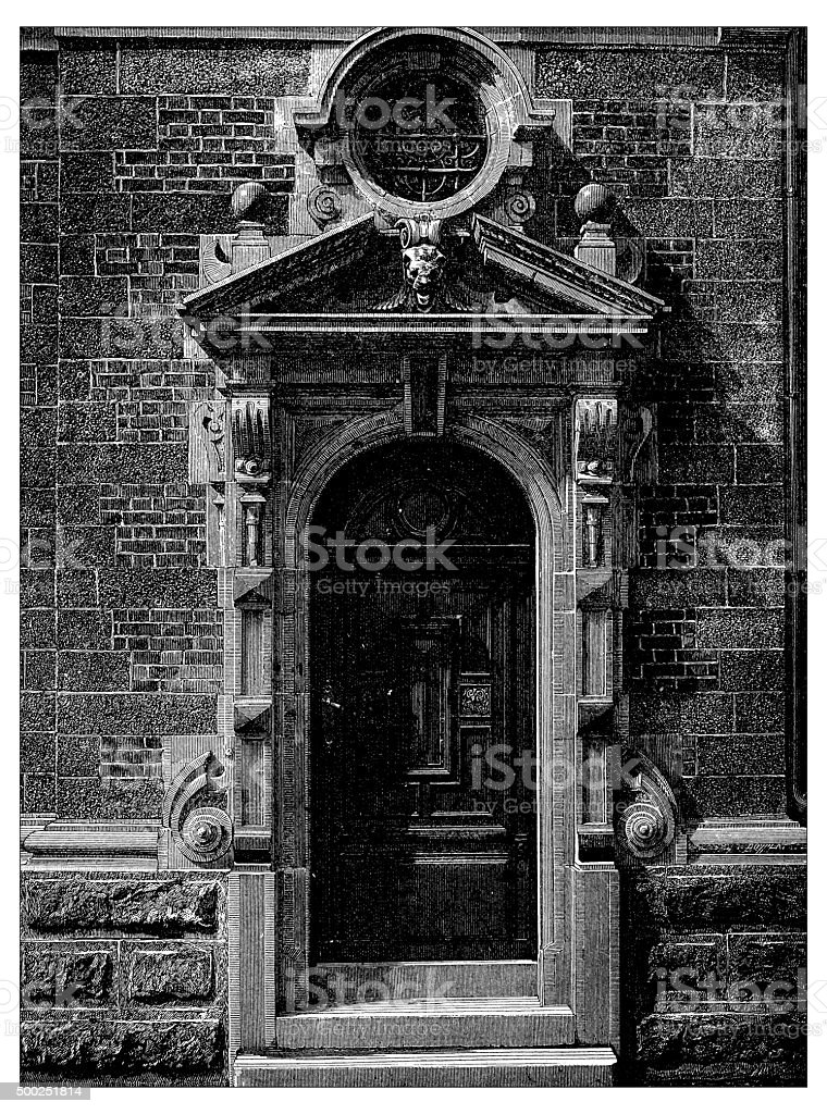 Antique illustration of door of the Belgian facade at Champ-de-Mars vector art illustration