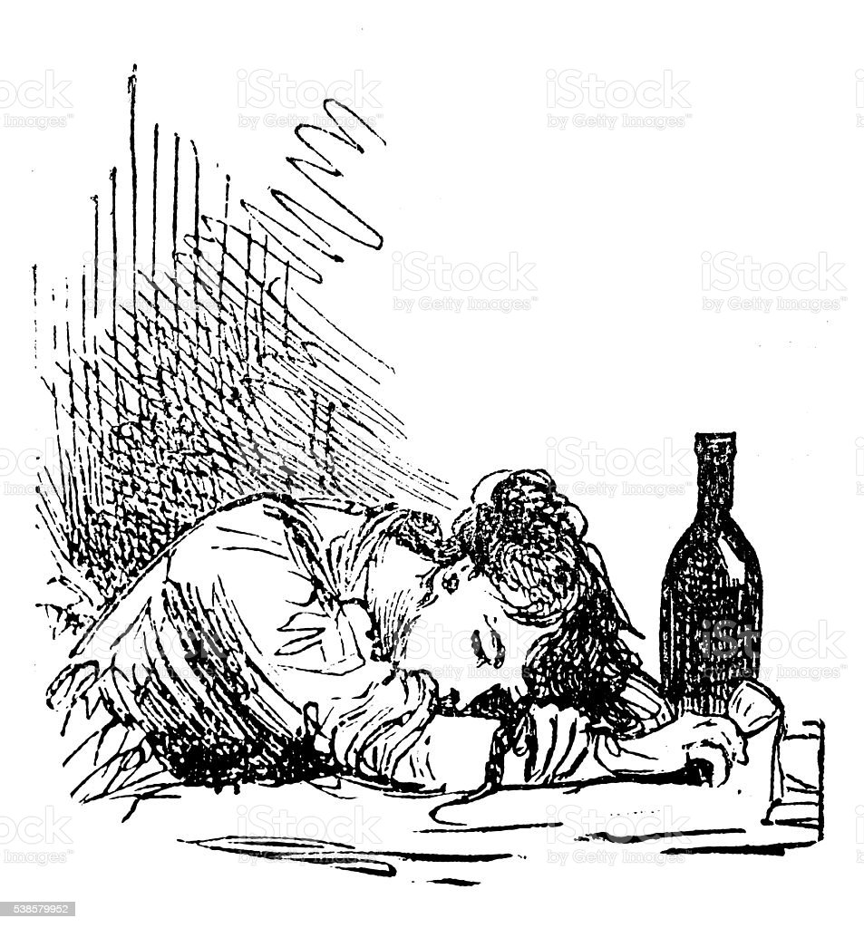 Antique illustration of drunk woman vector art illustration