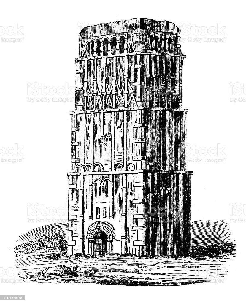 Antique illustration of Earls Barton medieval tower (England) vector art illustration