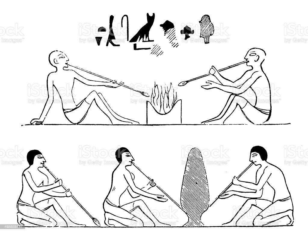 Antique illustration of Egyptian glass blowers vector art illustration