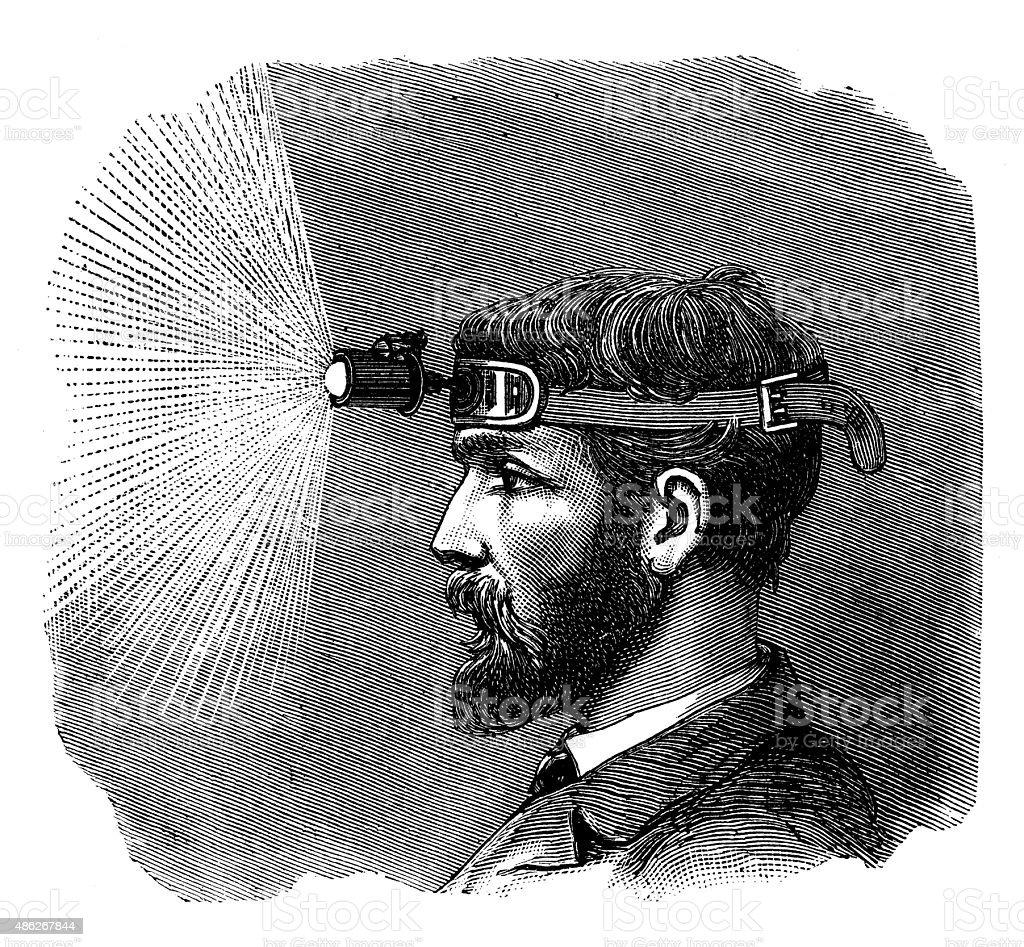 Antique illustration of electric lamp vector art illustration