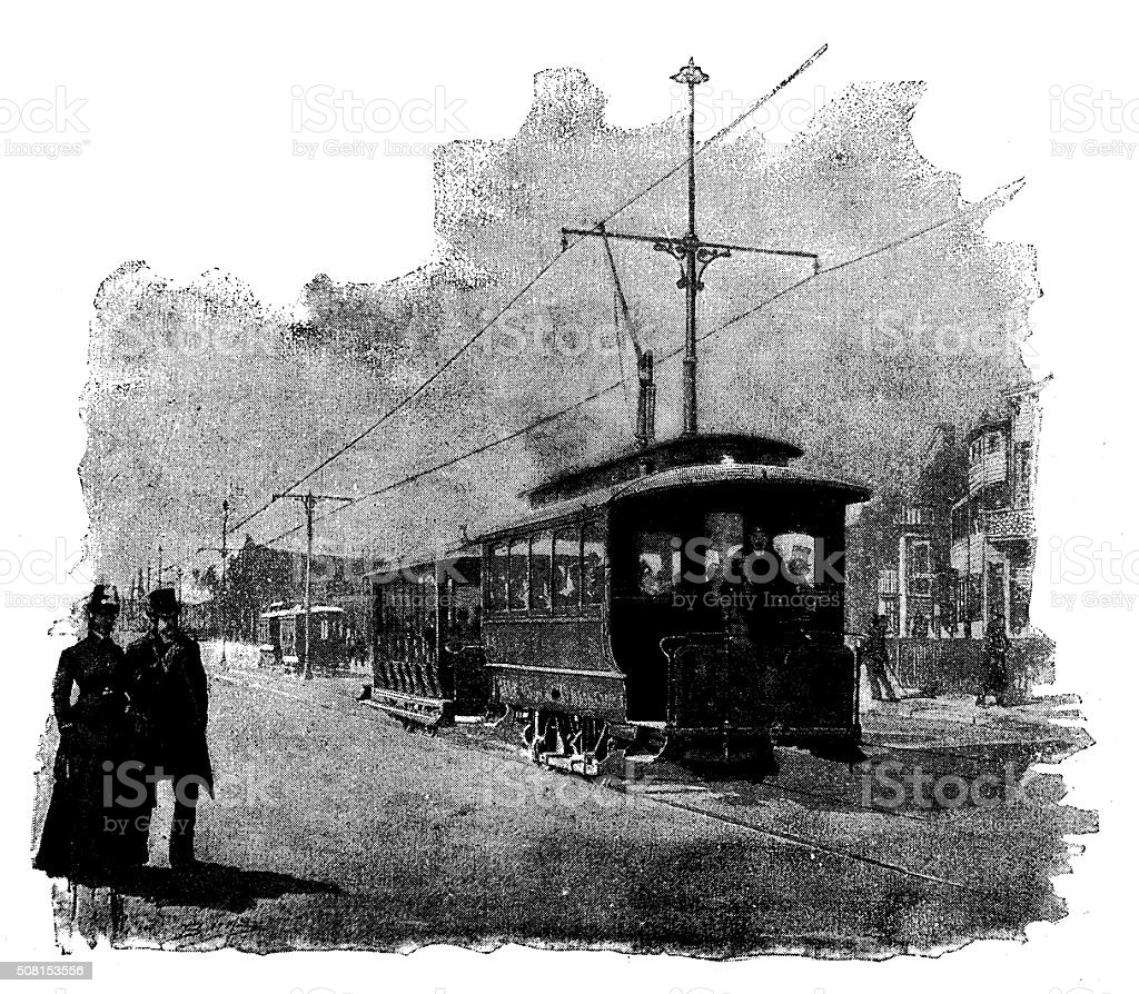 Antique illustration of electric tramway vector art illustration