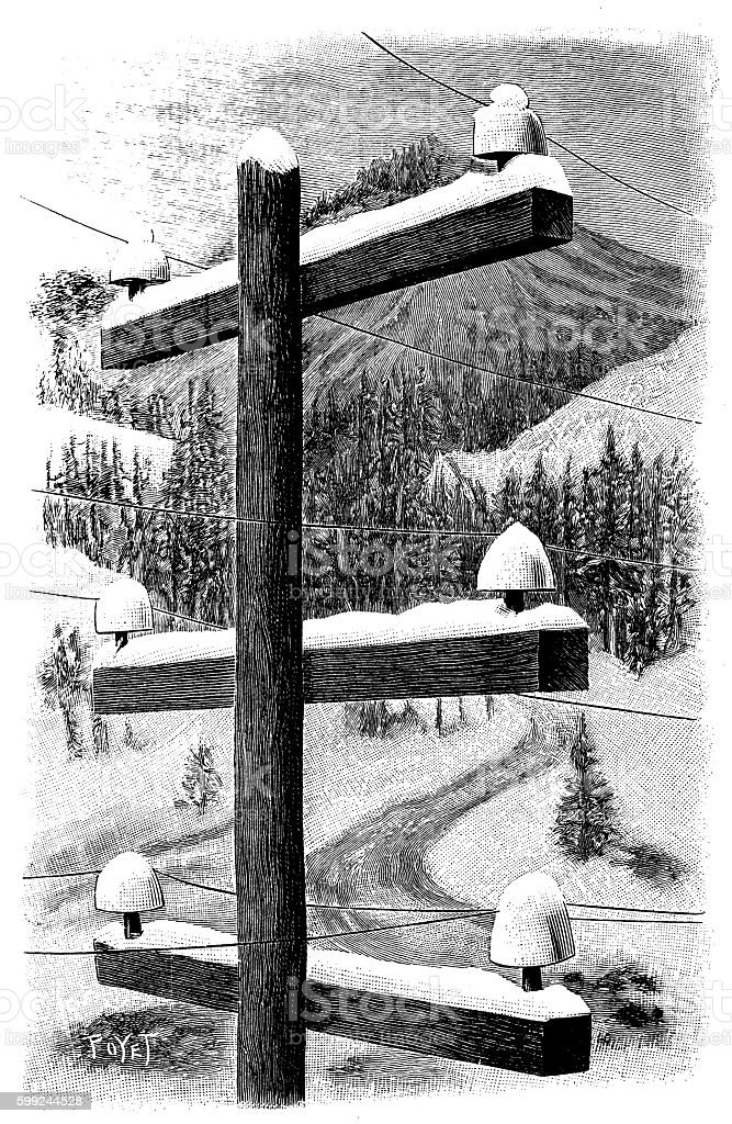 Antique illustration of electricity post in winter vector art illustration
