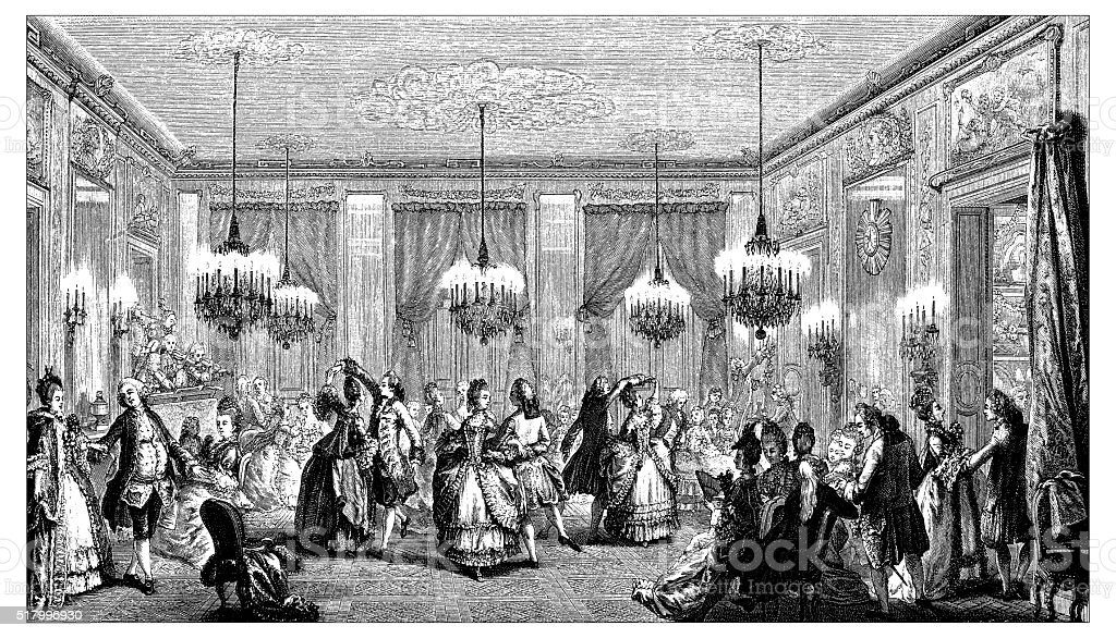 Antique illustration of elegant ball party vector art illustration
