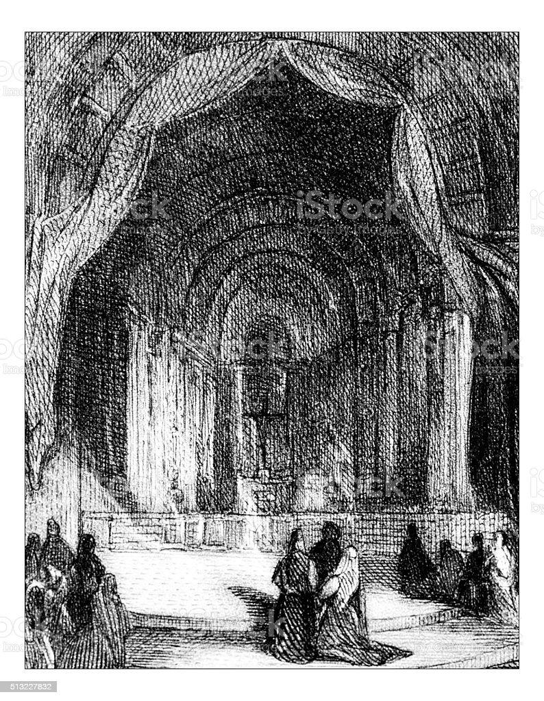 Antique illustration of elegant building indoor vector art illustration