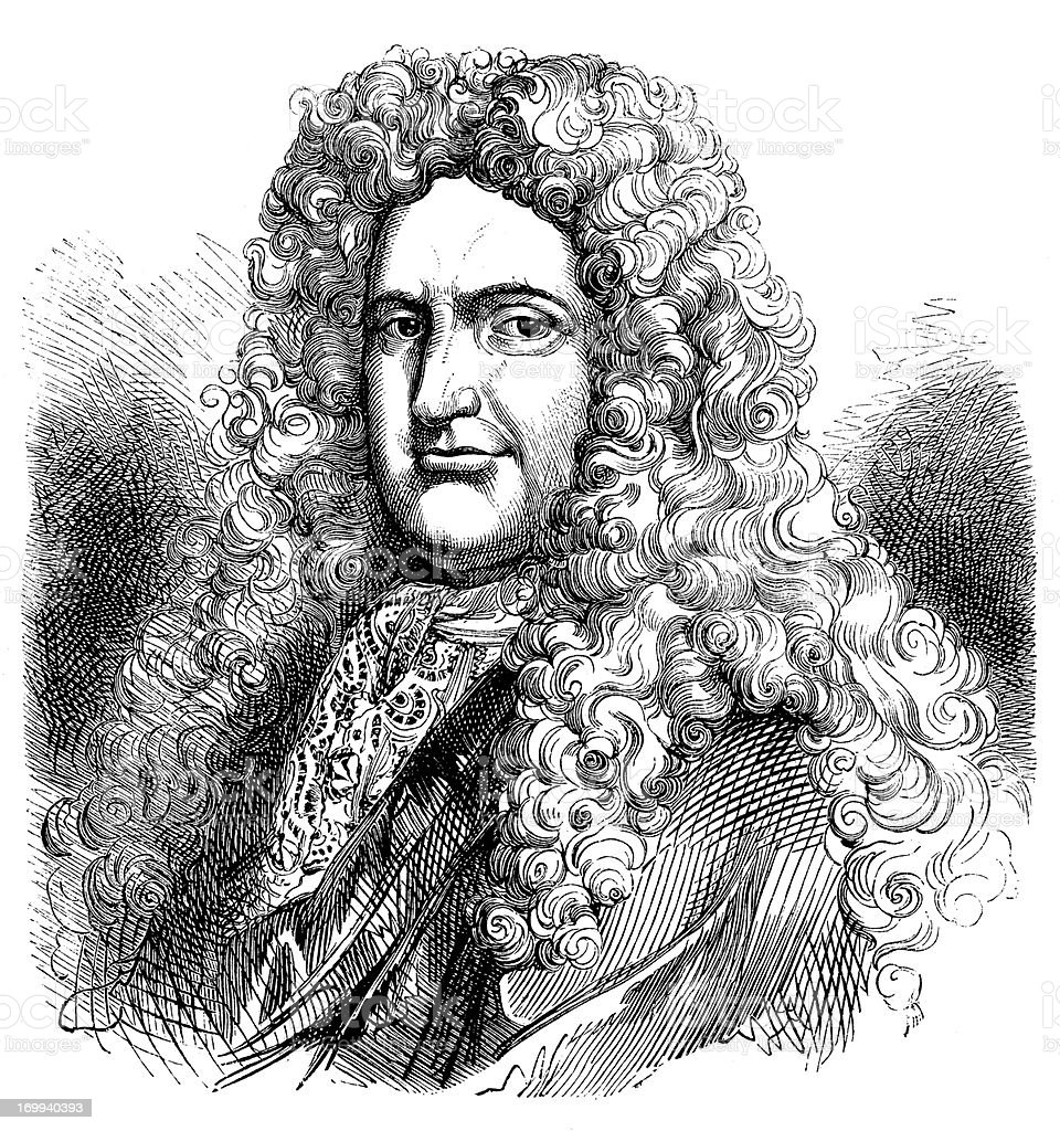 Antique illustration of elegant man with wig royalty-free stock vector art