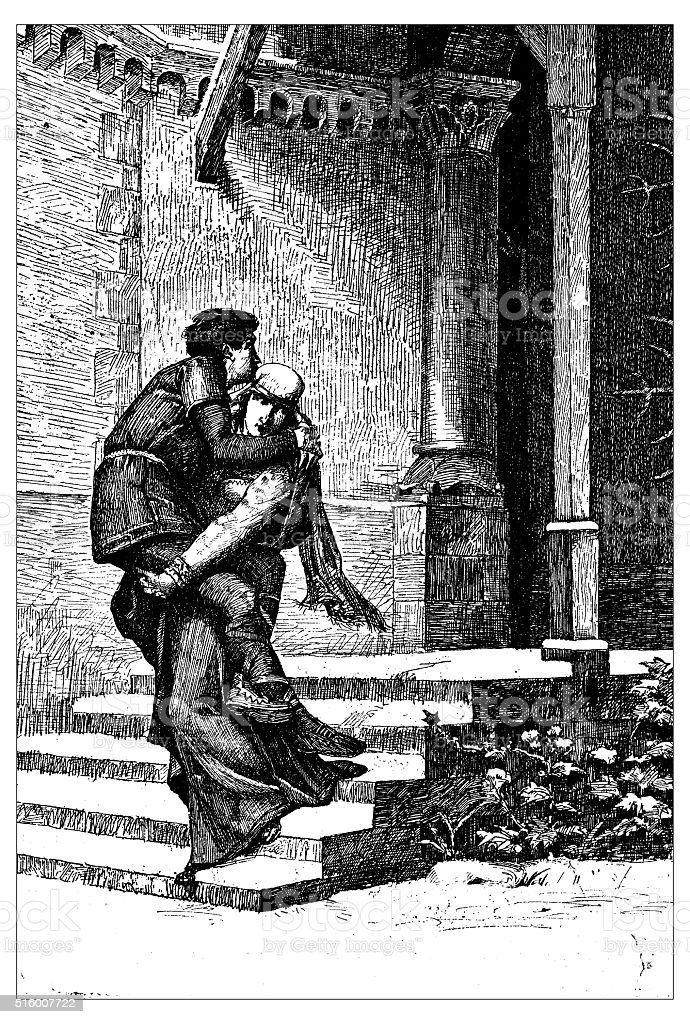 Antique illustration of Emma carrying Einhard vector art illustration