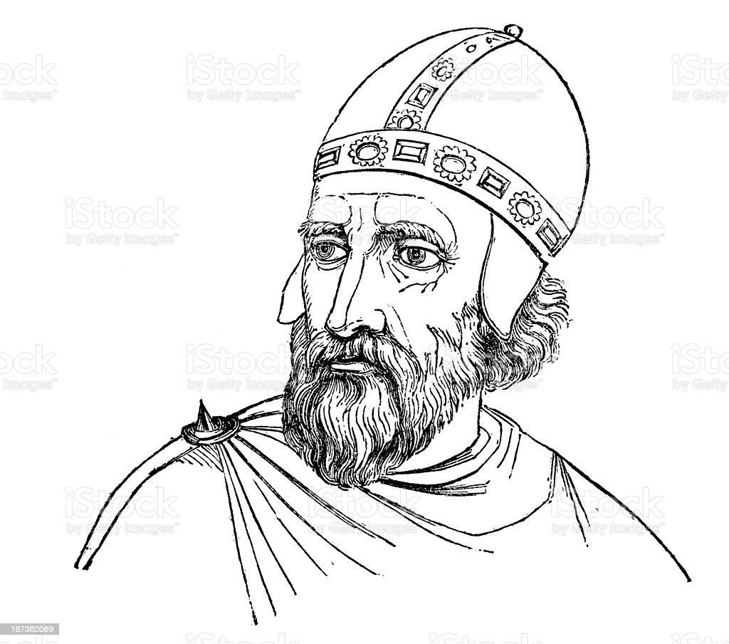 Antique illustration of Enrico Dandolo (Henry Dandolo) (Henricus Dandulus) vector art illustration