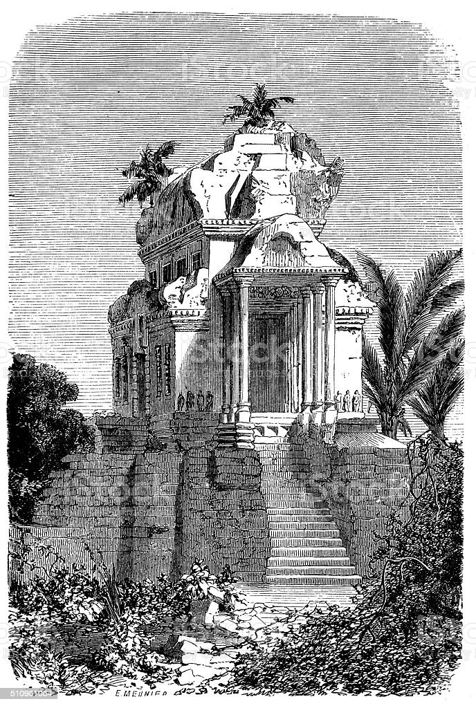Antique illustration of entral pavilion of the Angor Wat vector art illustration