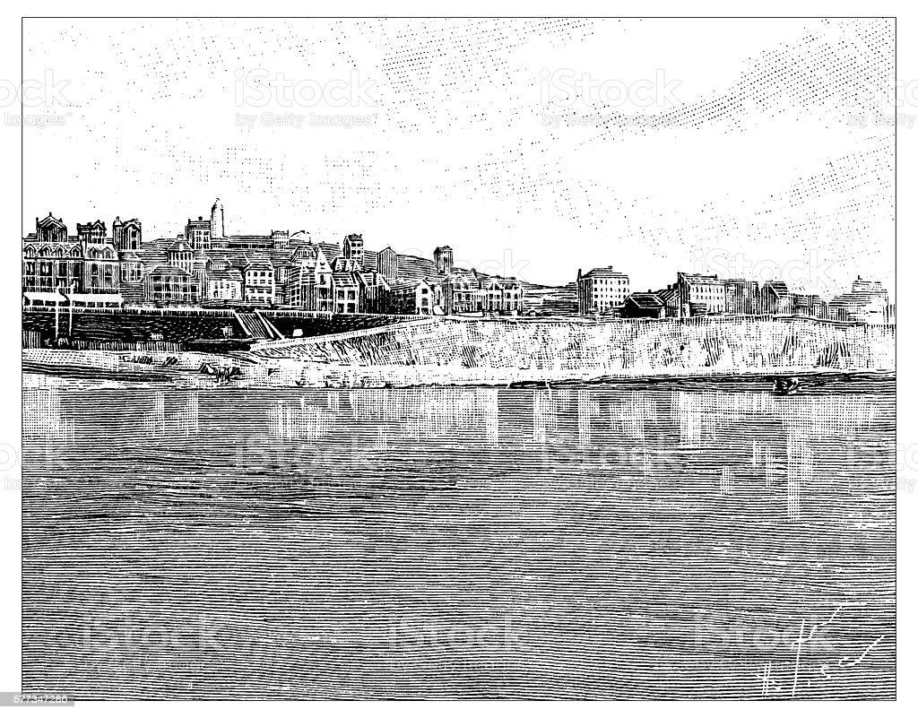 Antique illustration of Falaise d'Ault-Onival vector art illustration