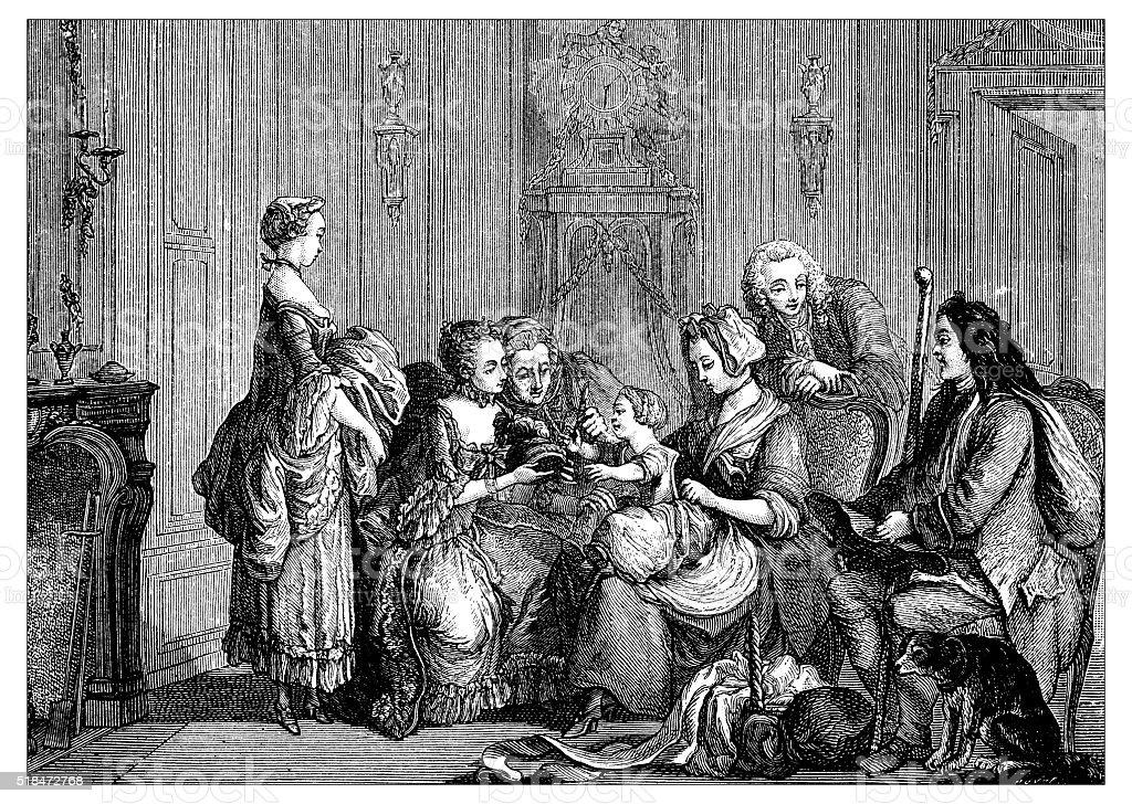 Antique illustration of family vector art illustration