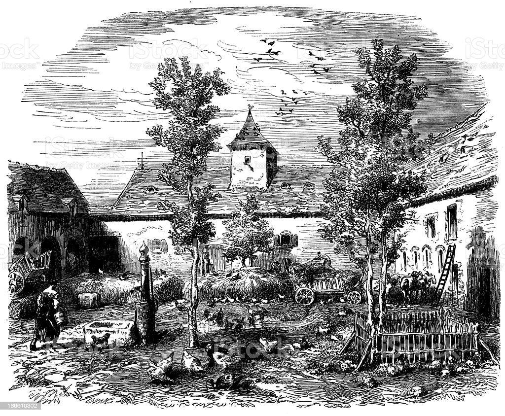 Antique illustration of farm royalty-free stock vector art