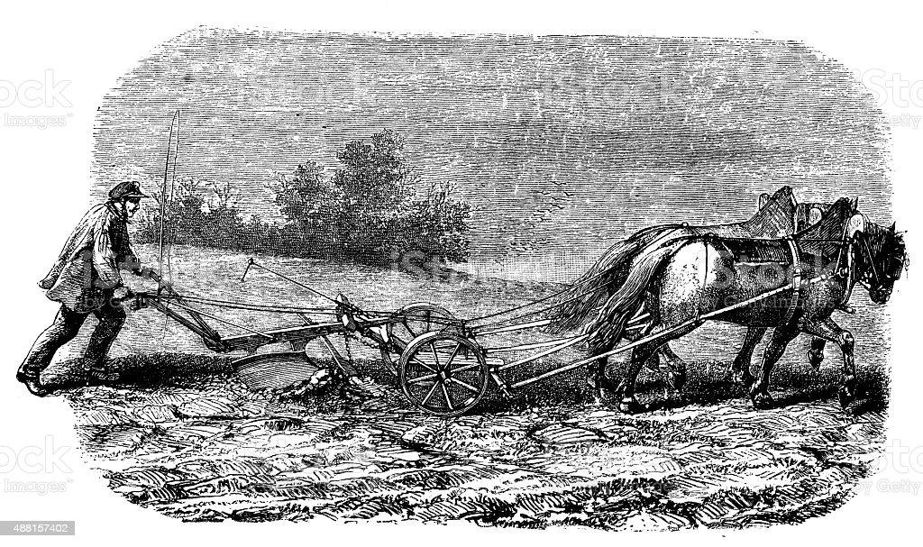 Antique illustration of farmer with plough vector art illustration