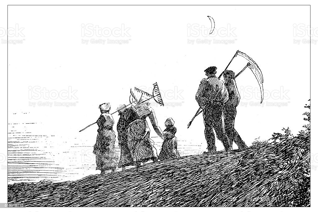 Antique illustration of farmers with tools walking toward the city vector art illustration